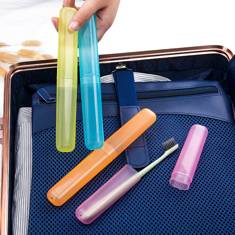 1pcs Plastic Transparent Portable Travel Toothbrush Protect Holder Case Hygienic Hiking Camping Toothbrush Box Storage Cup Cap image