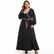 Siskakia Maxi Dress Plus Size V Neck Rib