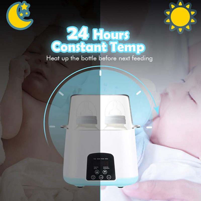 Baby Bottle Warmer, Bottle Steam Sterilizer 5-In-1 Smart Thermostat Double Bottle Baby Food Heater For Breast Milk Or Formula