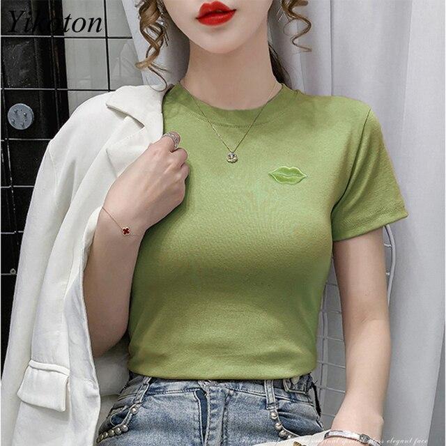 Cotton Summer Women's Clothing Top Women T-shirts Short Sleeve Lips Embroidery Woman T-shirts Basic Tops Female 2021 Tee Shirts 1