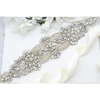 MissRDress Crystal Pearls Bridal Belt Hand Beaded Bridal Sash Silver Rhinestones Wedding Belt For Wedding Party Dresses JK877