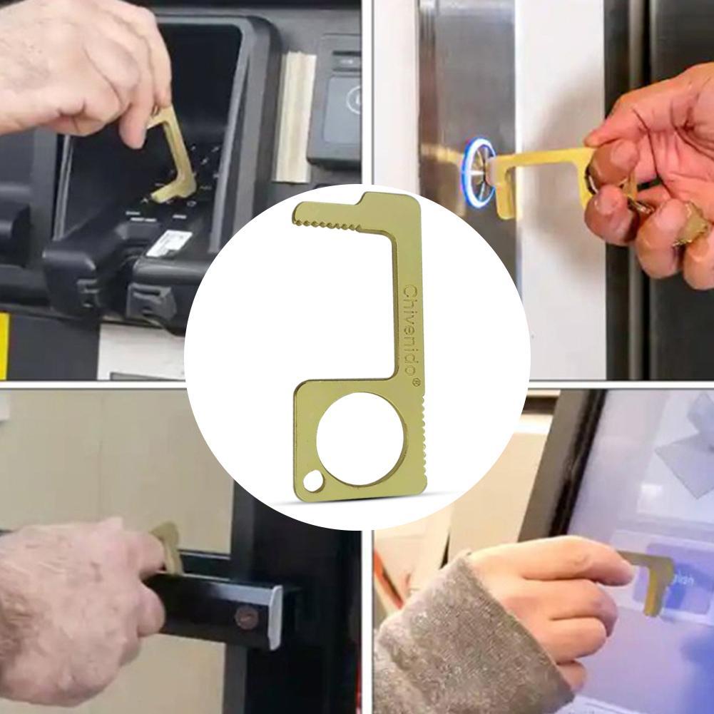 No Touch Door Opener Tool Keychain Contactless Safety Anti Touch Door Opener Safety Protection Brass Key Door Opener Tool