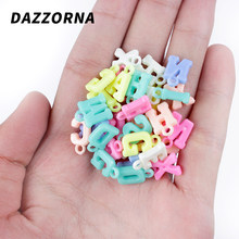 50/100/200/300Pcs/Lot Acrylic Hanging Hole Candy Color Letters Beads For Jewelry Making Kids DIY Necklace Accesories