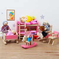 Mini casa de muñecas con muebles para niños, juguete de simulación, marionetas familiares de madera, Juguetes Educativos de cocina, dormitorio, color rosa