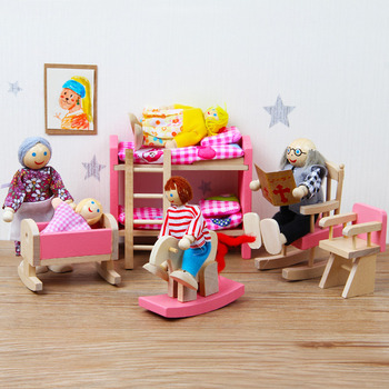 Mini Dollhouse Furniture Pretend Toy Wooden Family Puppets Toys Pink Kitchen Bedroom Educational Toys For Children Stories image