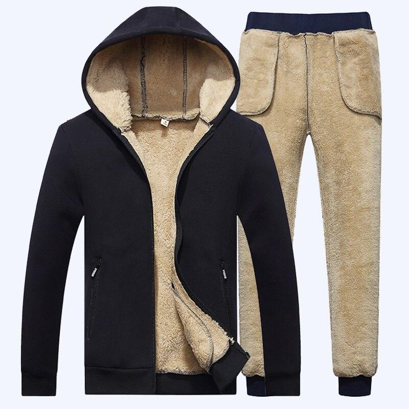 Agasalho masculino inverno zíper cordeiro cashmere hoodie + calça velo grosso com capuz faixa terno casual inverno quente moletom de treino