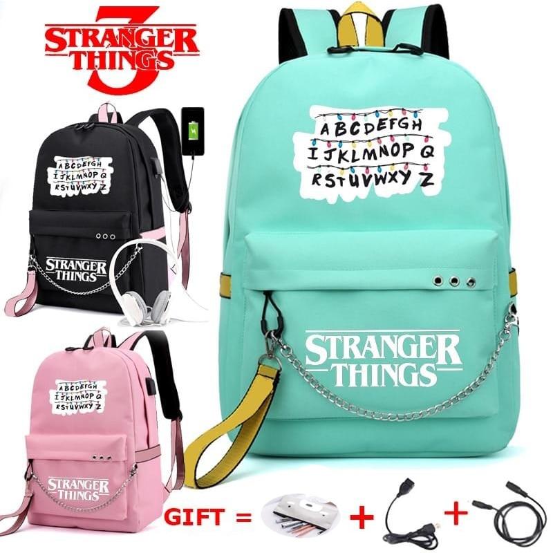 Fashion Supernatural SPN Black Canvas Backpack USB Charging School Bag