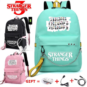 Image 1 - New Stranger Things Canvas Backpack USB Charge Women Student Backpack Letters Print School Bag Teenager Girls Ribbons Backpack