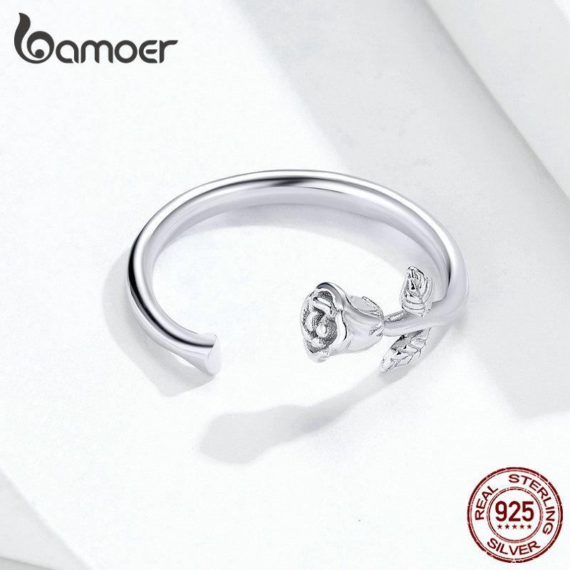 Bamoer-Anillo de plata de primera ley con forma de rosa para mujer, sortija ajustable, plata esterlina 925, flor 3D, moda coreana, BSR065