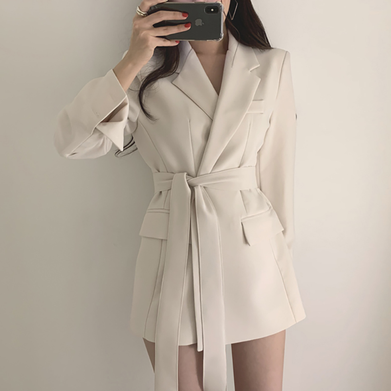 Women Blazers And Jackets 2019 Solid Notched Collar Elegant Ladies Office Blazer Suit Autumn Casual Long Belt Coat Jacket