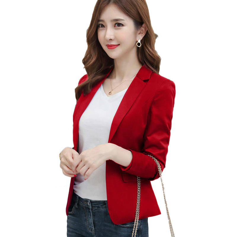 Elegant Office Work Jacket New 2020 Women Blazer Full Sleeve Single Button Solid Korean Female Casual Coat Blazer Feminino