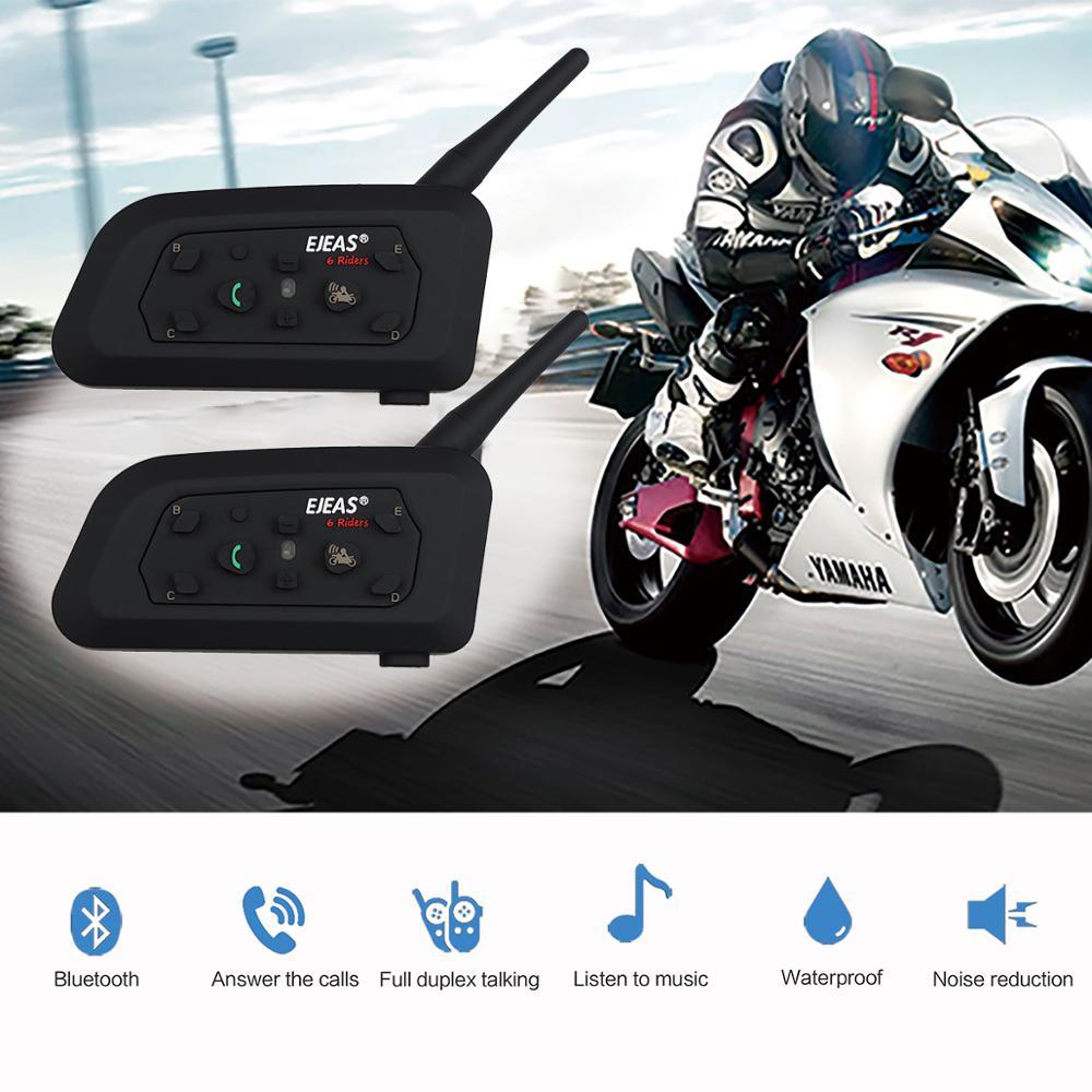 New Intelligent Motorcycle Helmet Wireless Bluetooth Intercom High-power Headset 6 Riders 1200m Waterproof Interphone GPS Or MP3