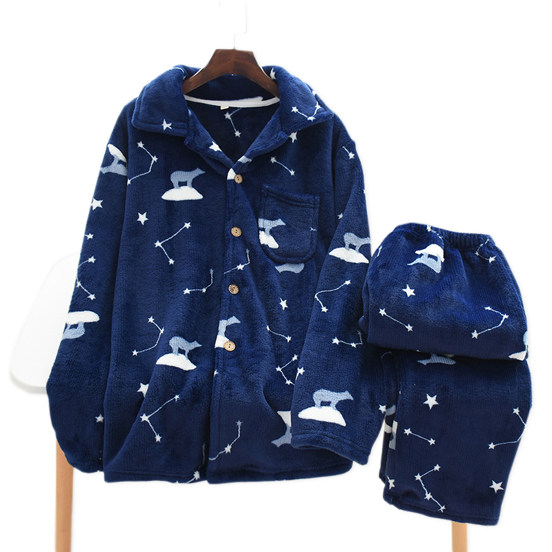 New Thicken Winter Flannel Couple Pajamas Sets Men And Women Cute Bear Keep Warm Long Sleeve Sleepwear Men Pyjamas Women
