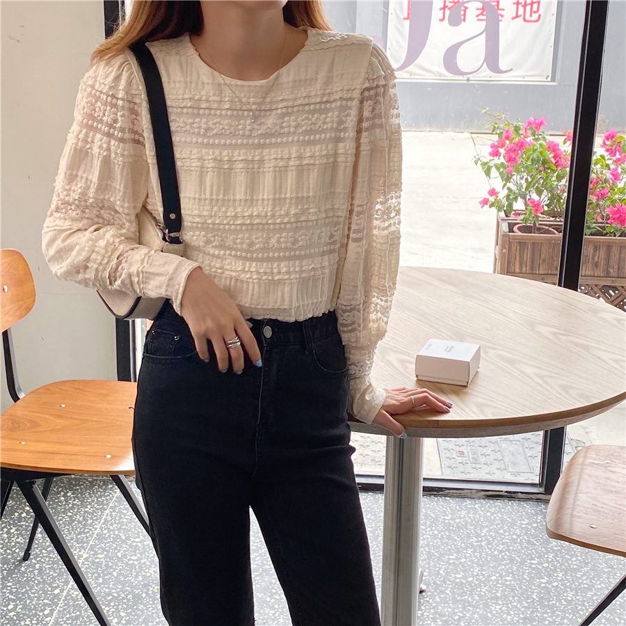 H73cf37144a754107a319a33ccf1f0284B - Spring / Autumn Korean O-Neck Long Sleeves Solid Lace Blouse