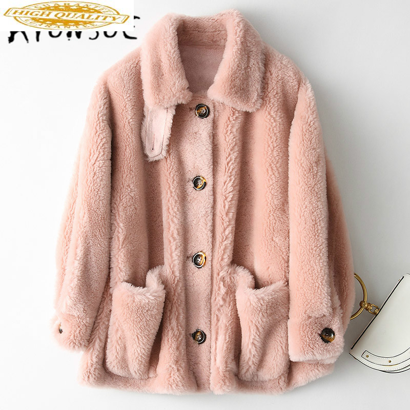 Genuine Fur Coat Female Women Clothes 2020 New Real Wool Fur Coats Casual Elegant Warm Vintage Winter Jacket 18213LW436