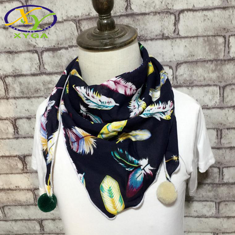 Children's Cotton Triangle Scarves Spring Thin Boys And Girls Cute Small Shawls Autumn Child Baby Kids Soft Viscose Scarves