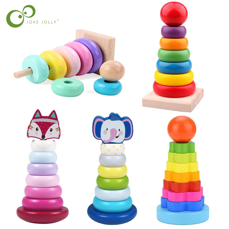 Animal Rainbow Stacking Ring Tower Stapelring Blocks kids Montessori Toys Early Education Teaching Aids Wood Baby Toys Gift ZXH
