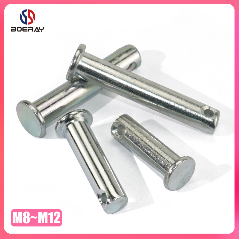 M8 M10 M12 Clevis Pins With Head 304 Stainless Steel Shaft Flat Head With Hole Positioning Pins Cylindrical Pin Bolt Pin