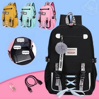 Durable New Women Large School Bag Girl Teenage Usb With Lock Anti Theft Backpack Book Bag Big School Bag Youth Leisure College