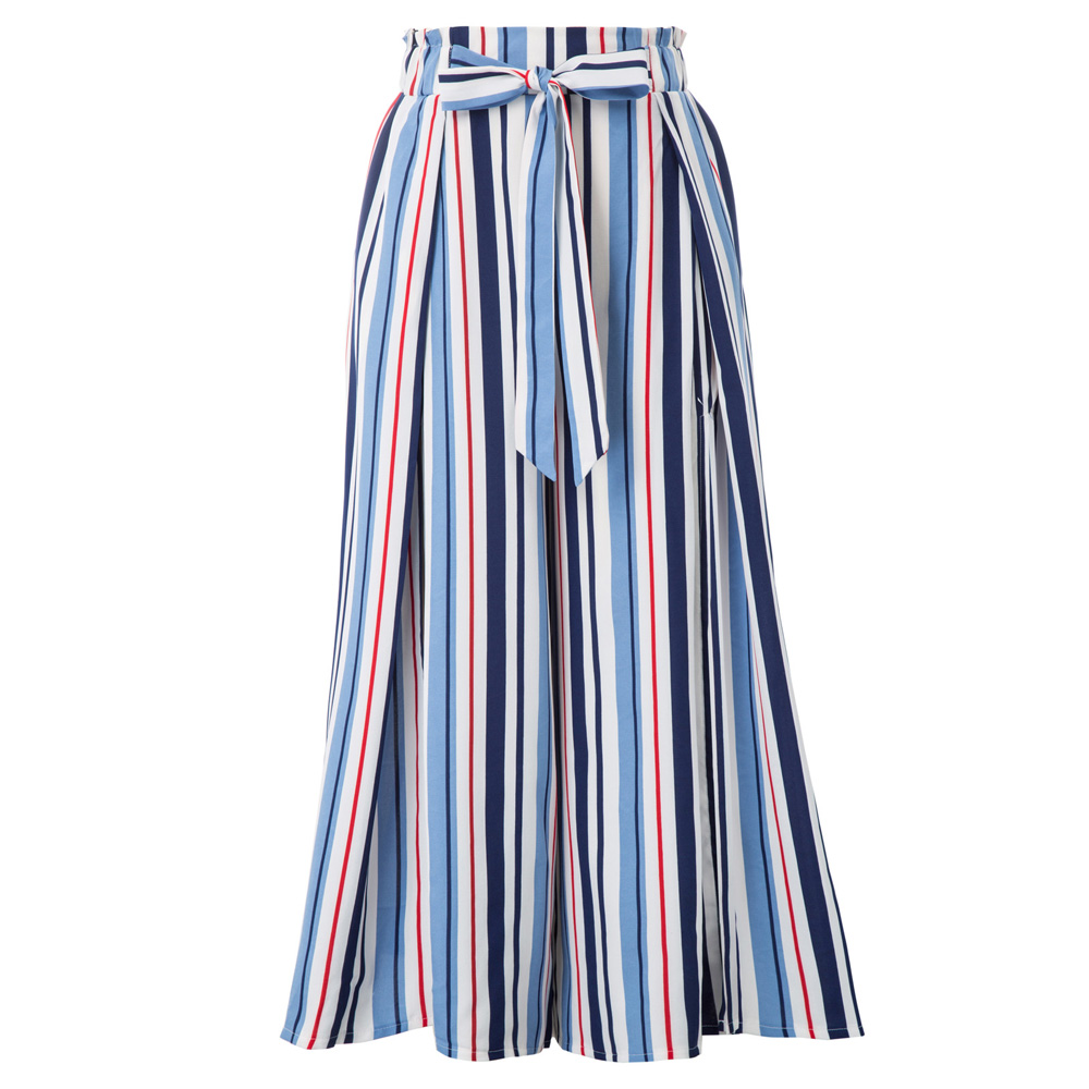 Women's   pants   High Split Wide Leg   Pants     Capri   Striped Elastic Waist Summer casual fashion korean belt trousers ankle-length lady