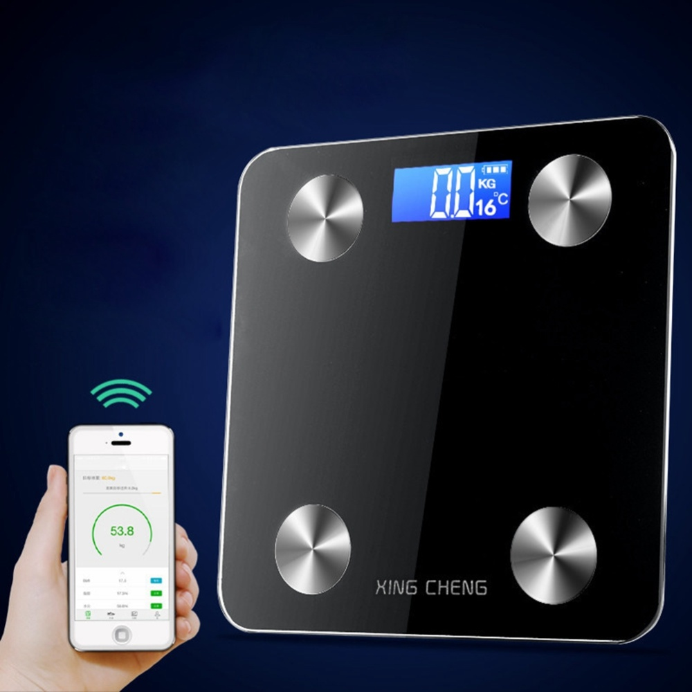 Body Fat Scale Smart Digital Bathroom Wireless Weight Scale Body Composition Analyzer without Battery (Black)