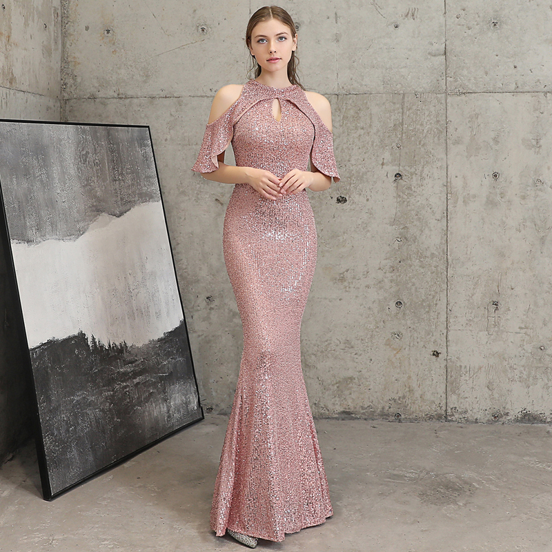 YIDINGZS Pink Sequins Evening Dress Hollow Out Elegant Off Shoulder Long Evening Party Dress YD16223