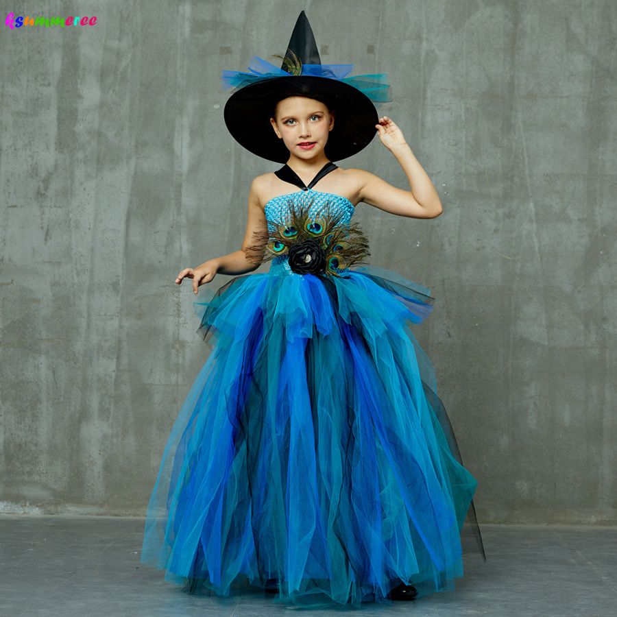 Girls Deluxe Peacock Feather Tutu Dress with Witch Hat Children Fancy Purim Pageant Birthday Party Costume Kids Prom Ball Gown 1