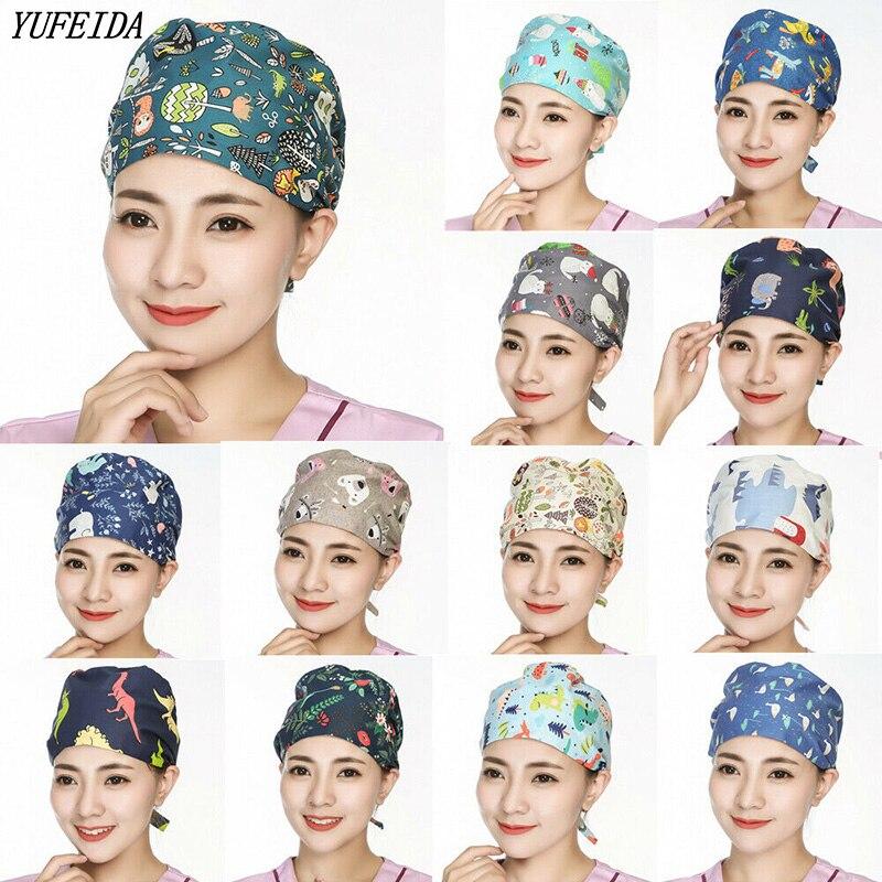 Hospital Surgery Scrubs Hats Unisex Operation Doctor Nurse Surgical Scrub Adjustable Caps Cotton Cartoon Printed Hats Work Wear