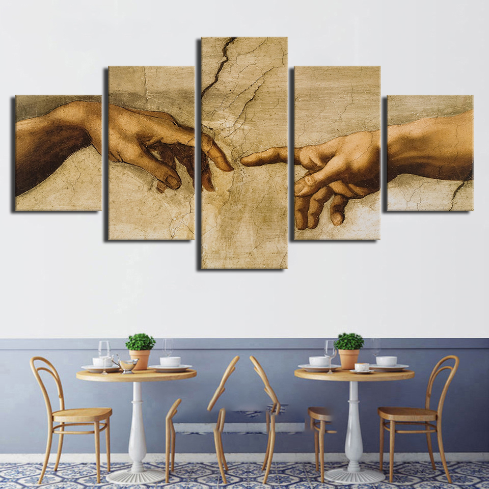 5 Pieces HD Creation Of Adam Hand Of God Paintings Canvas Poster Wall Art Frame Modular Prints Pictures Home Decorative