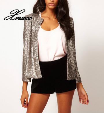 Xnxee Chic Sequined Blazers Long-sleeved Beading Jacket With Covered Buckle O-Neck Woman Mini Suits Stage Show Cardigan Tops