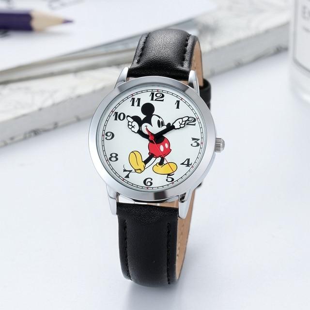 Original Disney Teen Leather Quartz Children Fashion Watches Kids Mickey Mouse Student Watch Boy Girl Best Gift Clock Relogio 4