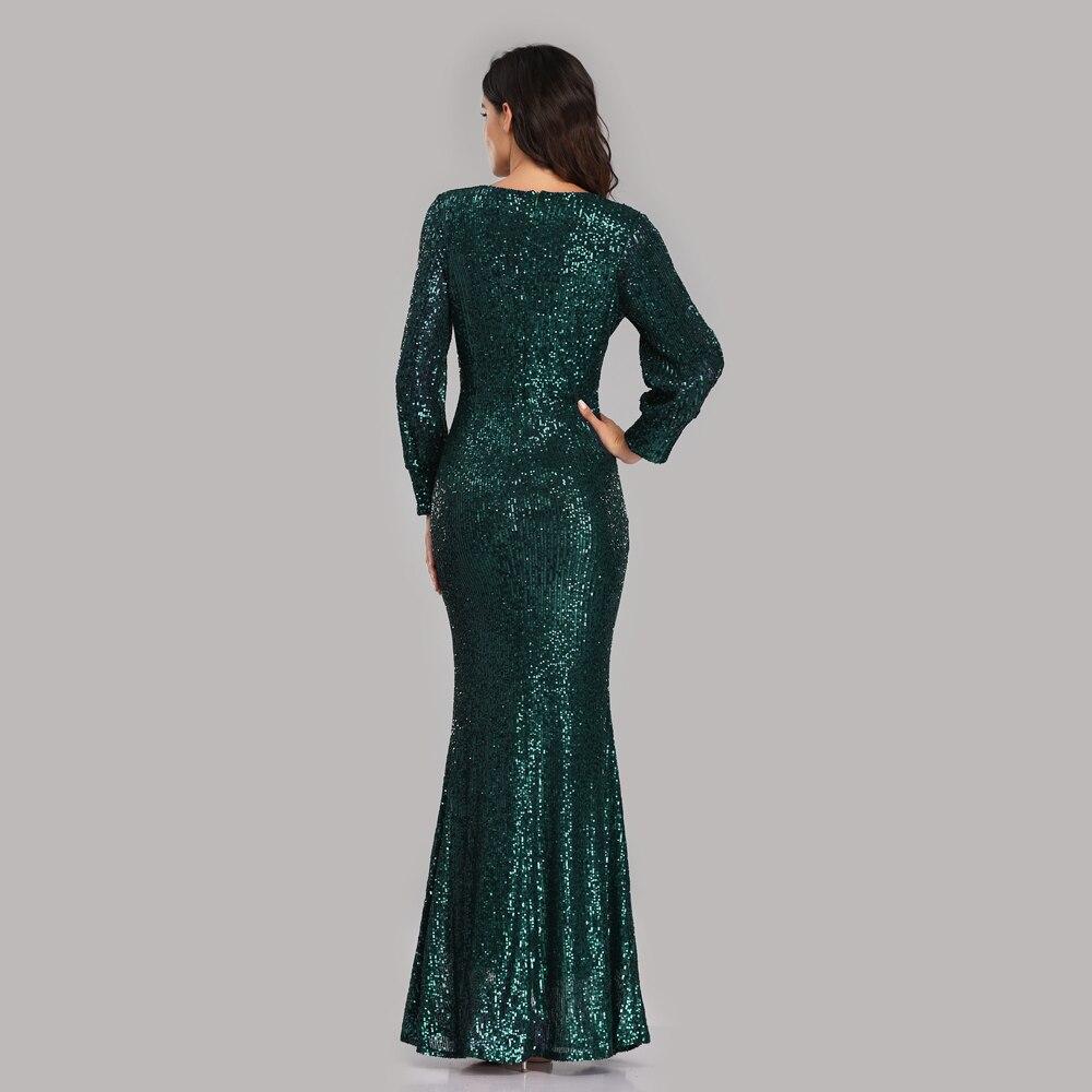 Beauty-Emily Sexy col en V paillettes robes de soirée à manches longues longueur de plancher sirène formelle robe de soirée robes de bal Vestido de noche - 2