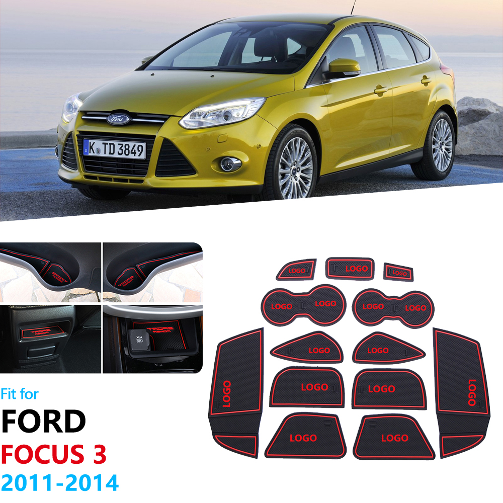 Anti-Slip Rubber Gate Slot Cup Mat For Ford Focus 3 MK3 2011 2012 2013 2014 pre-facelift Door Groove Mat Accessories Stickers