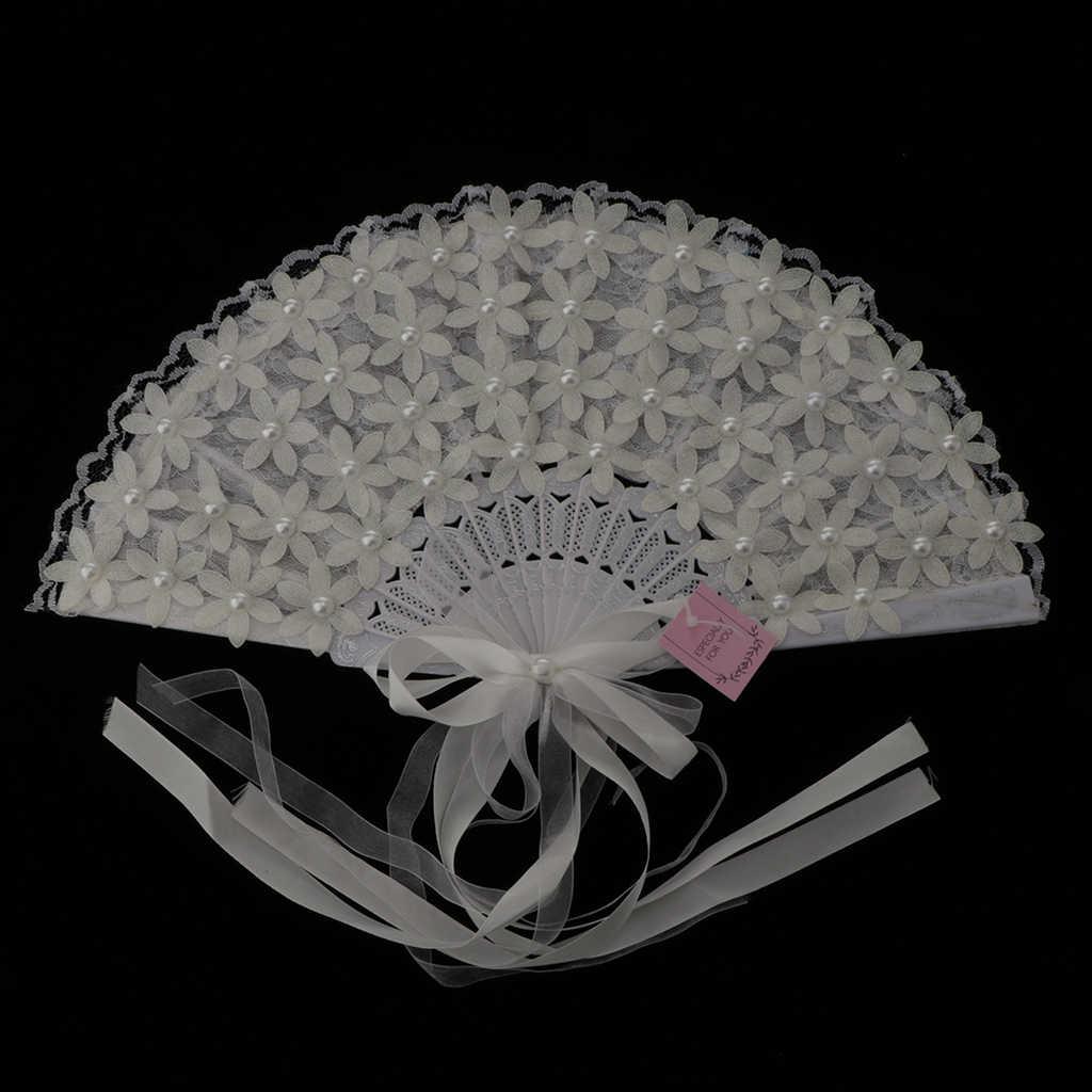 Vintage Bridal Renda Buket Fan Kristal Buket Pengiring Pengantin Pernikahan Bouquet Flapper Aksesoris (Putih)