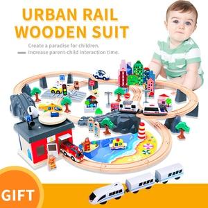 Image 1 - חשמלי רכבת מסלול סט מגנטי חינוכיים חריץ חיוניות רכבת עץ רכבת מסלול תחנת צעצוע מתנות לילדים