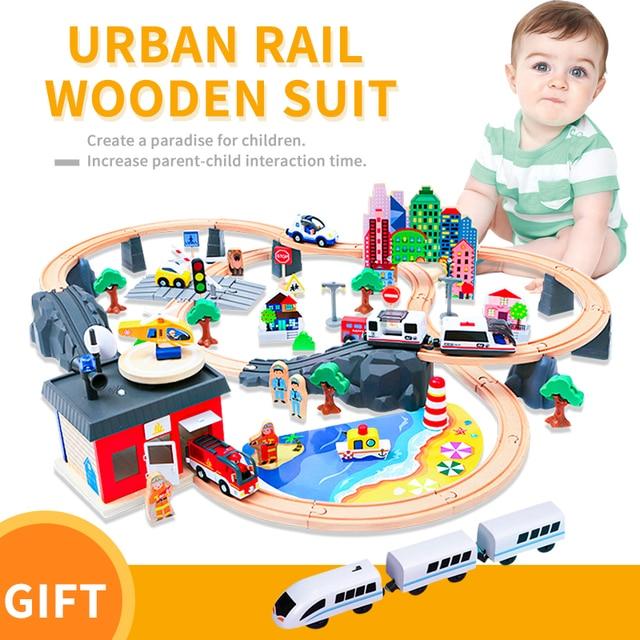 חשמלי רכבת מסלול סט מגנטי חינוכיים חריץ חיוניות רכבת עץ רכבת מסלול תחנת צעצוע מתנות לילדים