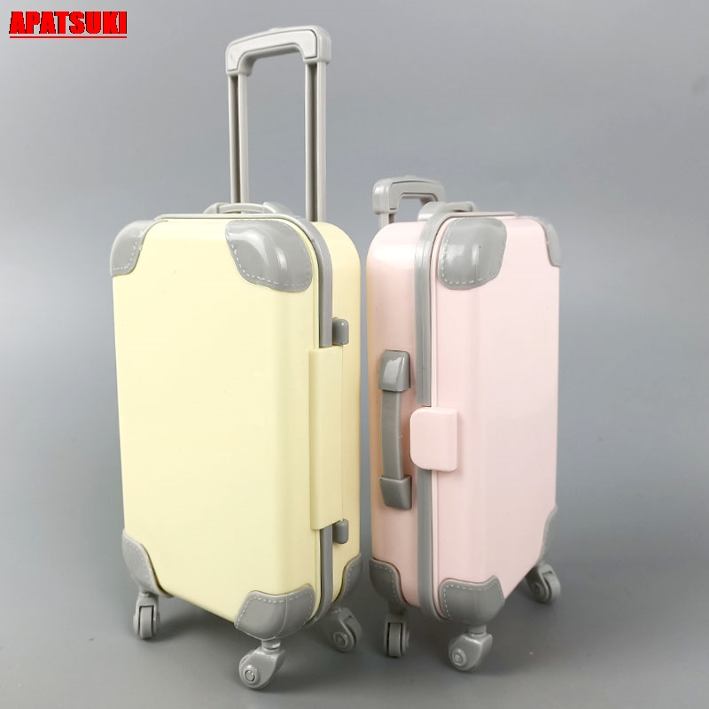 Doll Furniture Plastic Travel Suitcase Trunk Case Luggage For Barbie Doll 1/6 BJD Doll Accessories DIY Dollhouse Girls Kids Toys