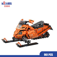 ERBO 961pcs Technic Building Blocks Pedal Snowmobile Moto Sled 1:8 Model Building Block DIY Brick Toys for Boy Gifts