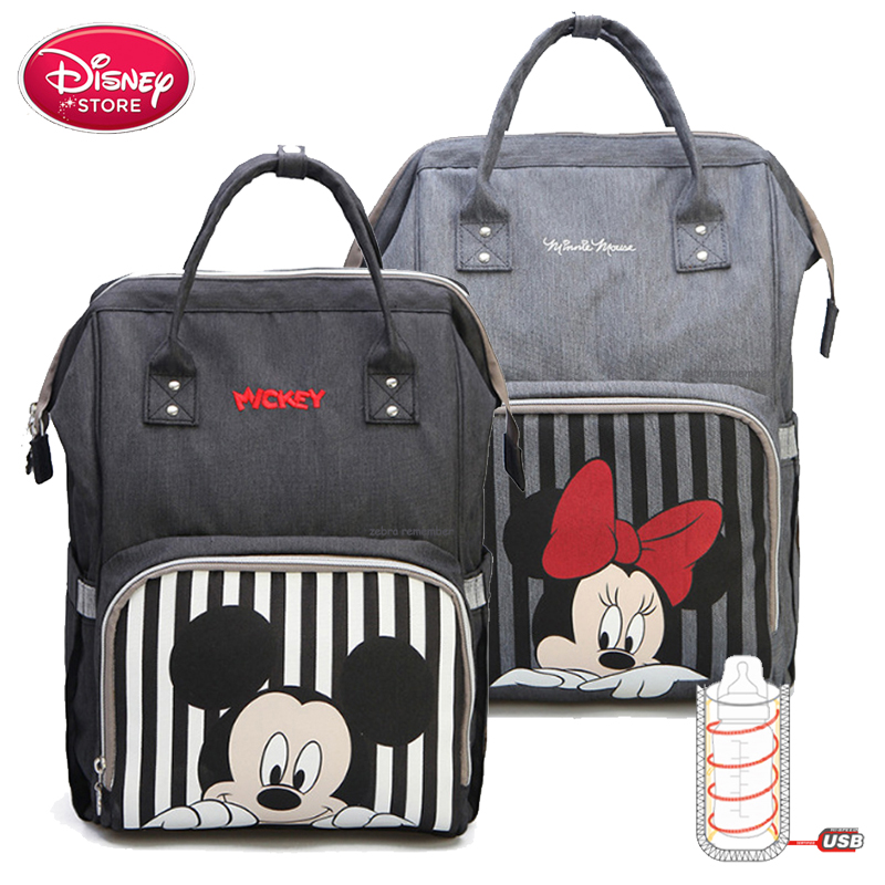 Disney Mummy Bags Minnie Mickey Mouse Backpack Handbag Mommy Bag USB Heating Insulation Bottle For Baby Care Travel Diaper Bag