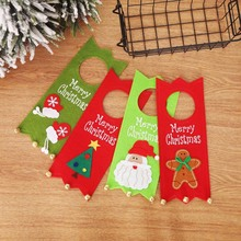 Newest Merry Christmas Non-wovens Fabric Door Hanging Atmosphere Decor Santa Claus Supply Dropshiping