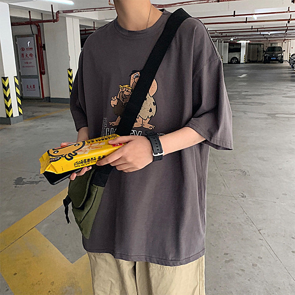 Мужская красная футболка с коротким рукавом летняя Корейская