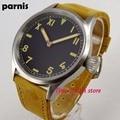 Классические наручные часы Parnis 43 мм California 6497  мужские светящиеся водонепроницаемые часы с кожаным ремешком и черным циферблатом