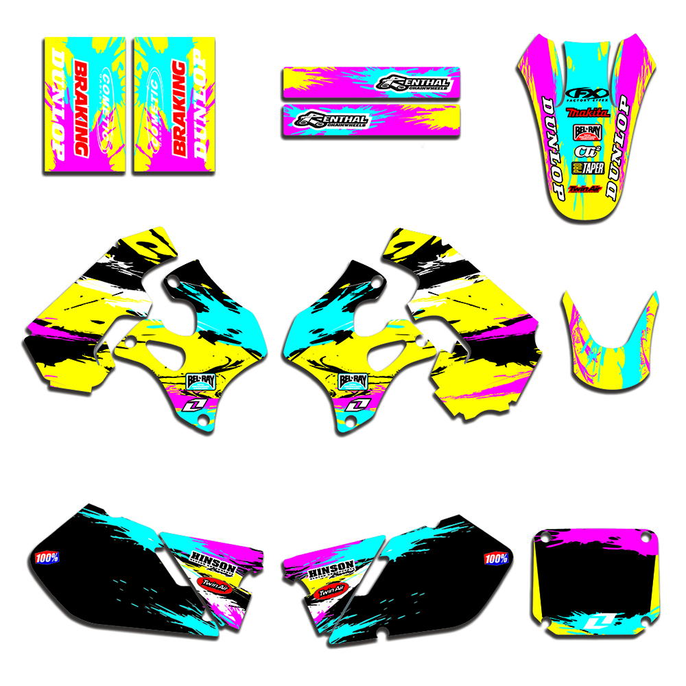 RM 125 250 1996 1997 1998 Complete Team Graphic Decal <font><b>Sticker</b></font> Kit For <font><b>Suzuki</b></font> RM125 RM250 Motorcycle Accessories image