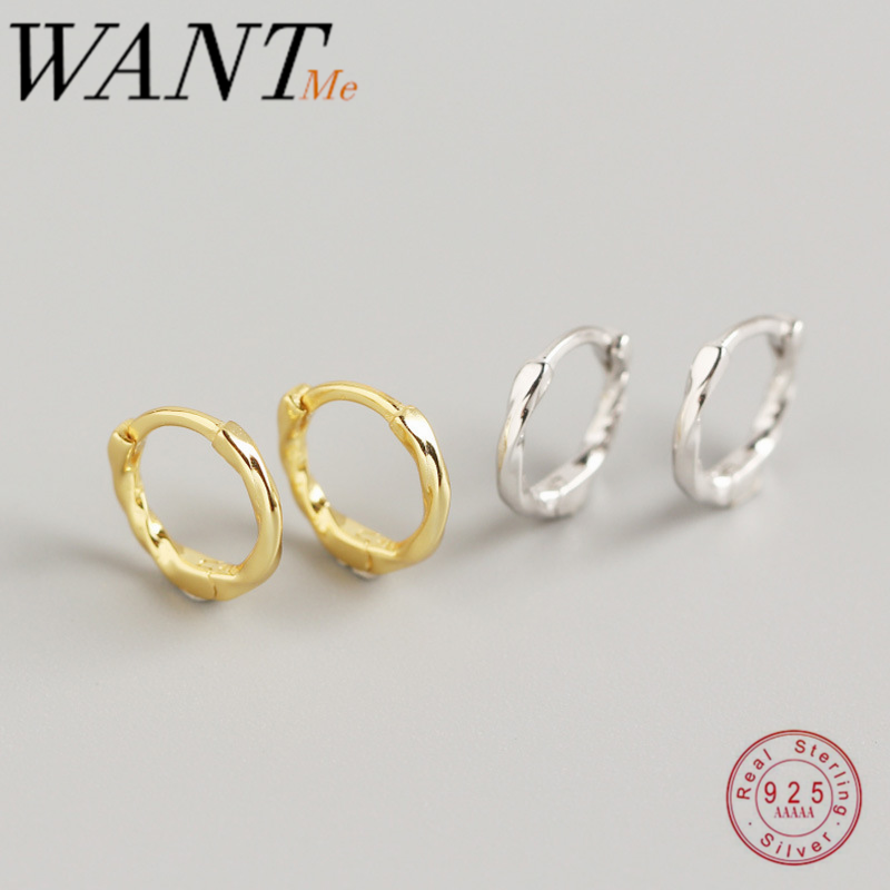 WANTME Genuine 100% 925 Sterling Silver Minimalist Round Knot Rope Stud Earrings for women Daily Life Teen Birthday Jewelry Gift