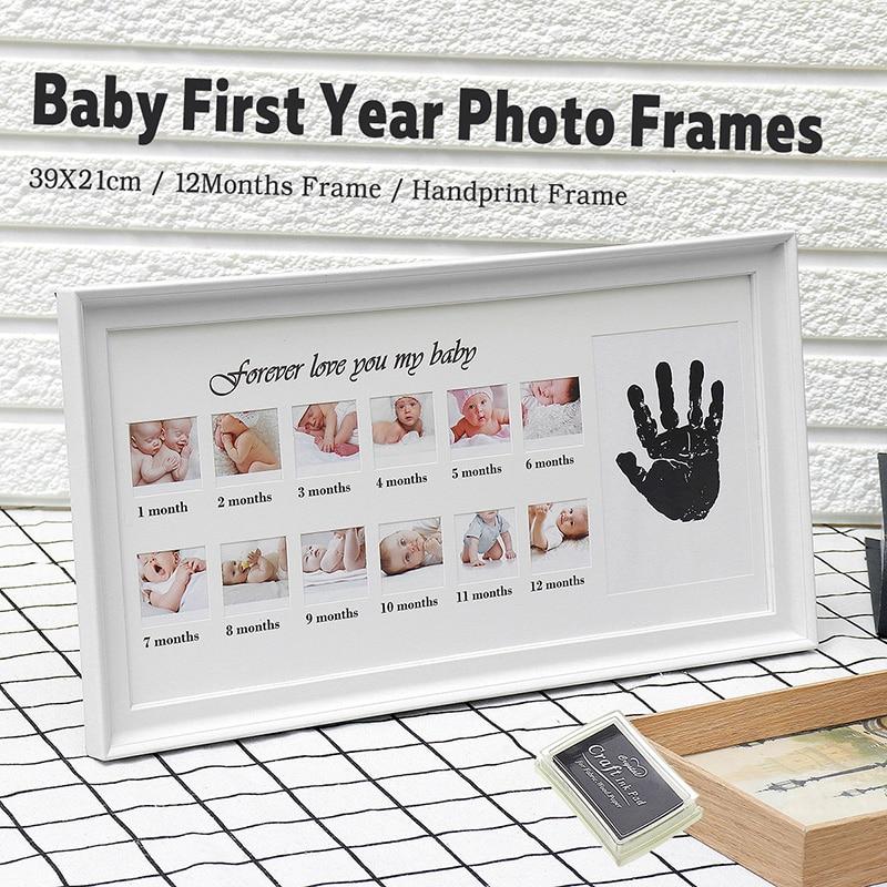 Cute Baby Photo Frame DIY Handprint Or Footprint 12 Months Photo Frame Baby Boy Girl My 1 One Year White Blue Pink Craft Ink