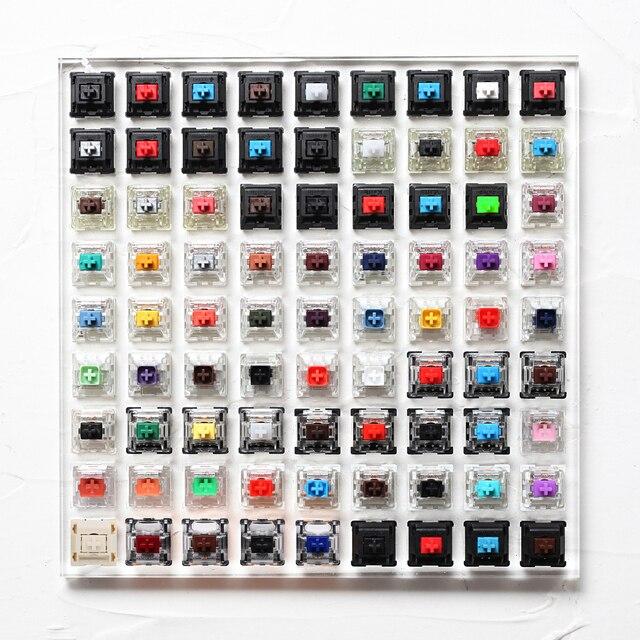 81 commutateurs de commutation testeur avec socle acrylique keycaps vierges pour clavier mécanique cherry kailh gateron outemu ice greetech box