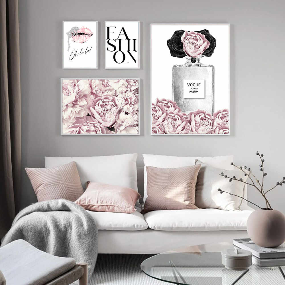 العطور الشفاه المشارك موضة قماش اللوحة الزهور جدار الفن طباعة ماكياج اللوحة الحديثة امرأة جدار صور غرفة المعيشة ديكور