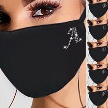 Mascarillas faciales con diamantes de imitación para mujer, máscara cortaviento con letras A-Z, mascarilla de algodón con purpurina, para Halloween, novedad