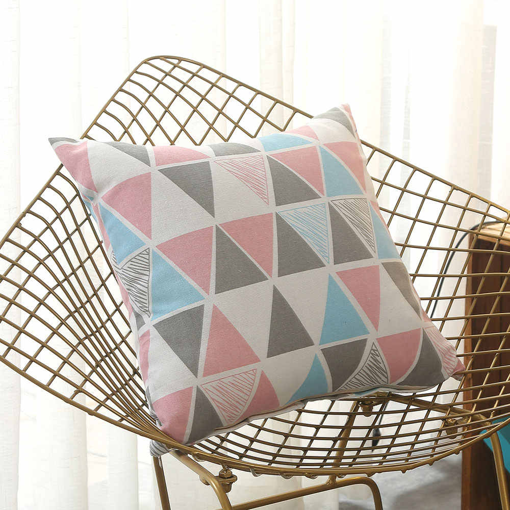Simple Striped Throw Pillow Cushion Bolster With Pillow Core Pillowcase Linen Print Student Baby Adult Home Chair Sofa 40*40CM