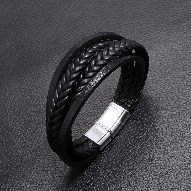ZORCVENS New Fashion Classic Genuine Leather Bracelet For Men Hand Charm Jewelry Multilayer Male Bracelet Handmade Jewelry